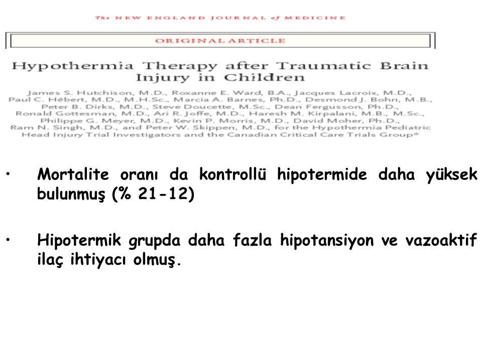 Mortalite oranı da kontrollü hipotermide daha yüksek bulunmuş (% 21-12)