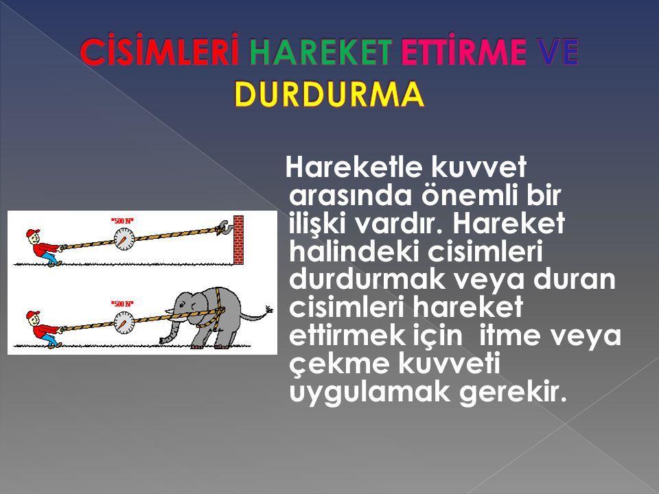 CİSİMLERİ HAREKET ETTİRME VE DURDURMA