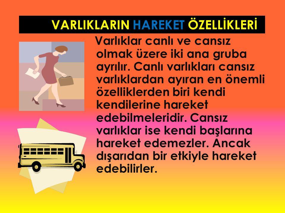 VARLIKLARIN HAREKET ÖZELLİKLERİ