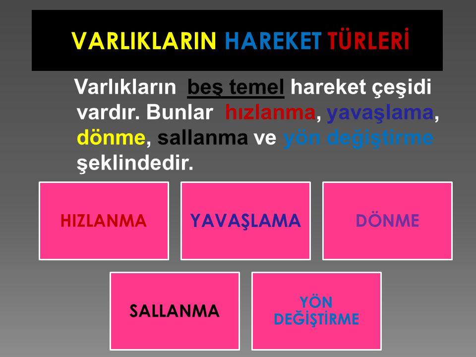 VARLIKLARIN HAREKET TÜRLERİ
