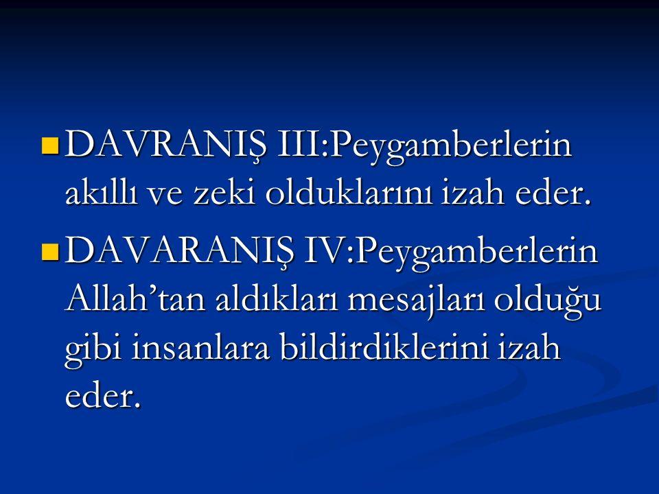 DAVRANIŞ III:Peygamberlerin akıllı ve zeki olduklarını izah eder.