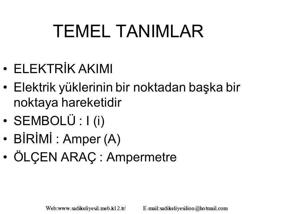 TEMEL TANIMLAR ELEKTRİK AKIMI