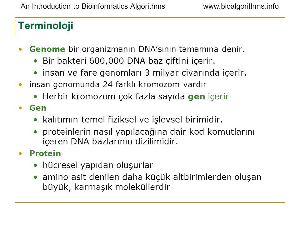Terminoloji Bir bakteri 600,000 DNA baz çiftini içerir.
