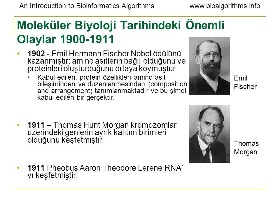 Moleküler Biyoloji Tarihindeki Önemli Olaylar 1900-1911
