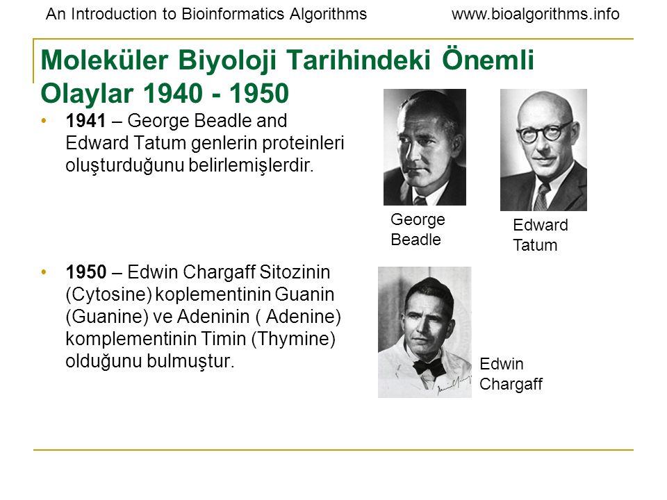 Moleküler Biyoloji Tarihindeki Önemli Olaylar 1940 - 1950