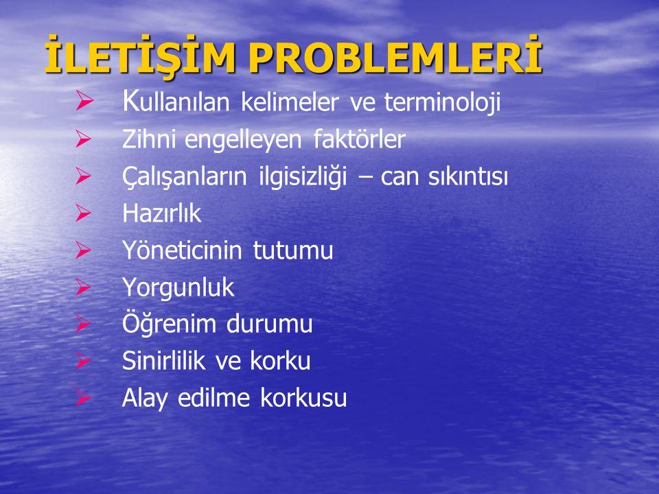 İLETİŞİM PROBLEMLERİ Kullanılan kelimeler ve terminoloji
