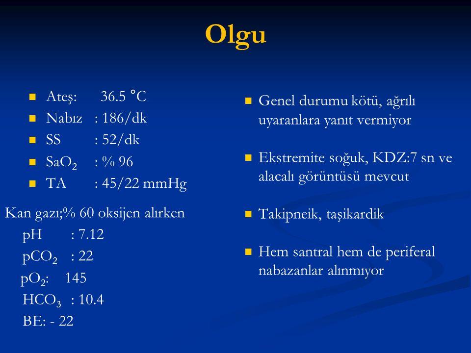 Olgu Ateş: 36.5 °C Genel durumu kötü, ağrılı uyaranlara yanıt vermiyor