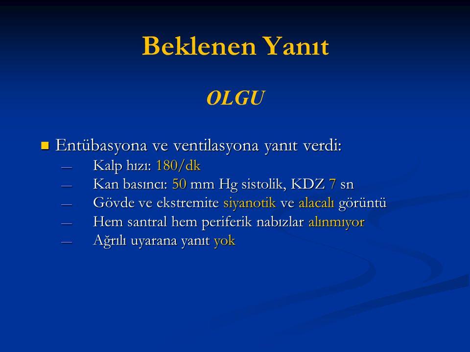 Beklenen Yanıt OLGU Entübasyona ve ventilasyona yanıt verdi: