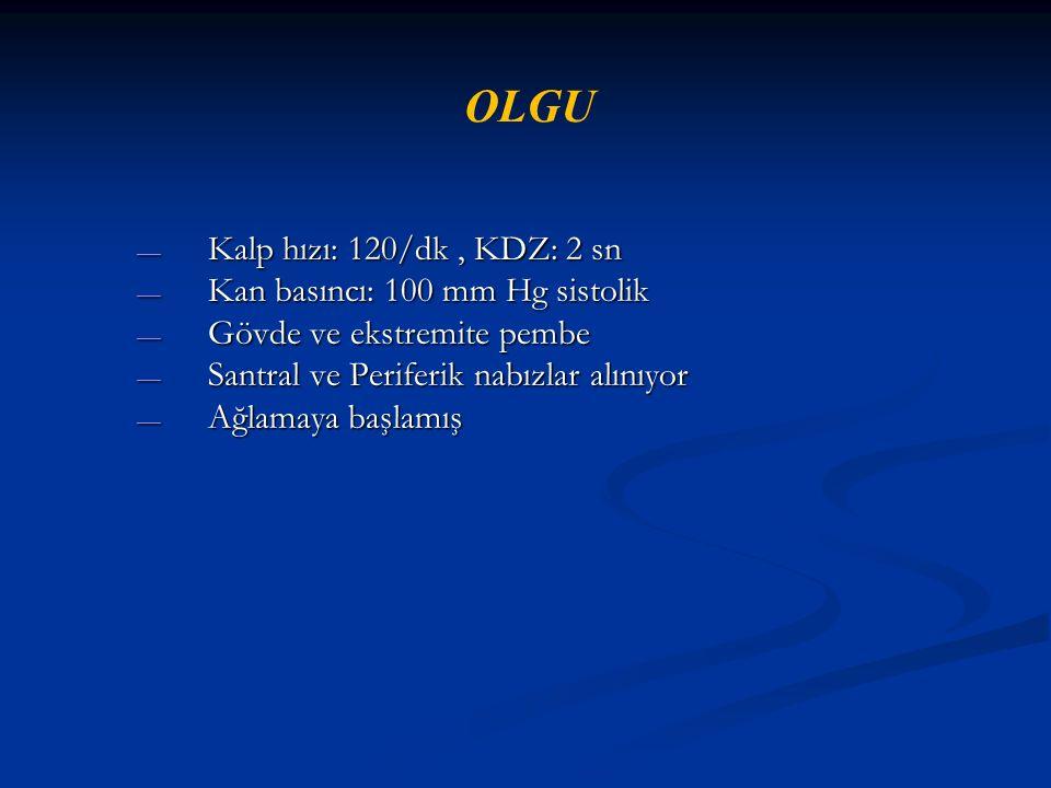OLGU Kalp hızı: 120/dk , KDZ: 2 sn Kan basıncı: 100 mm Hg sistolik
