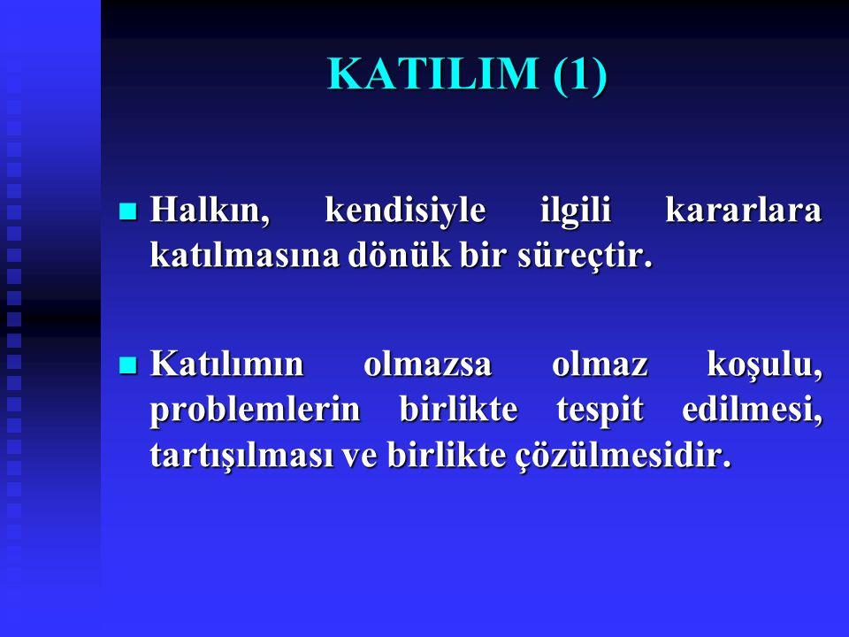 KATILIM (1) Halkın, kendisiyle ilgili kararlara katılmasına dönük bir süreçtir.