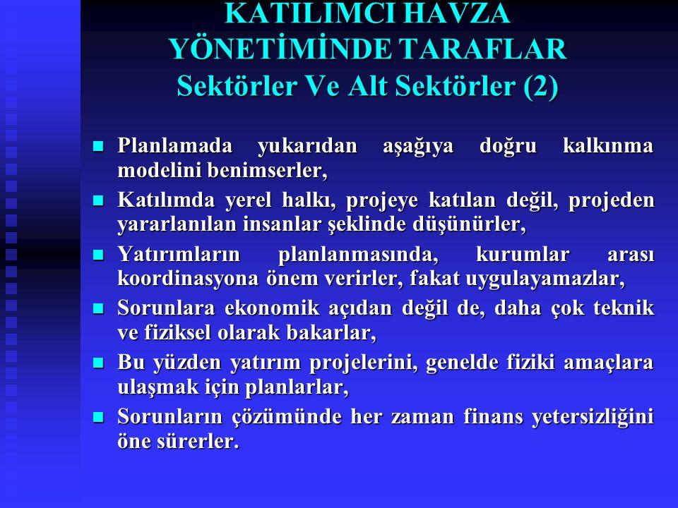 KATILIMCI HAVZA YÖNETİMİNDE TARAFLAR Sektörler Ve Alt Sektörler (2)