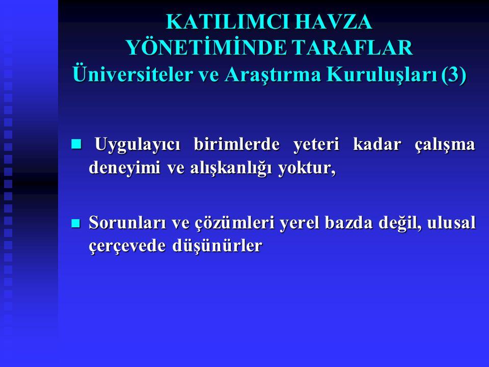 KATILIMCI HAVZA YÖNETİMİNDE TARAFLAR Üniversiteler ve Araştırma Kuruluşları (3)