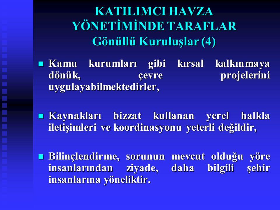KATILIMCI HAVZA YÖNETİMİNDE TARAFLAR Gönüllü Kuruluşlar (4)