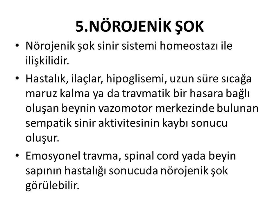 5.NÖROJENİK ŞOK Nörojenik şok sinir sistemi homeostazı ile ilişkilidir.