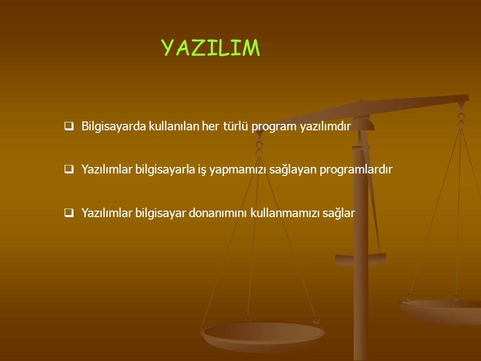 YAZILIM Bilgisayarda kullanılan her türlü program yazılımdır