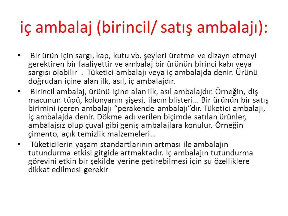 iç ambalaj (birincil/ satış ambalajı):