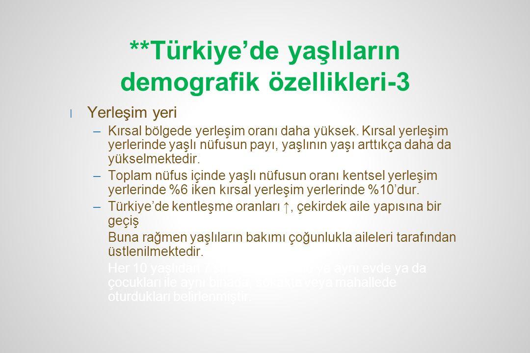 **Türkiye'de yaşlıların demografik özellikleri-3