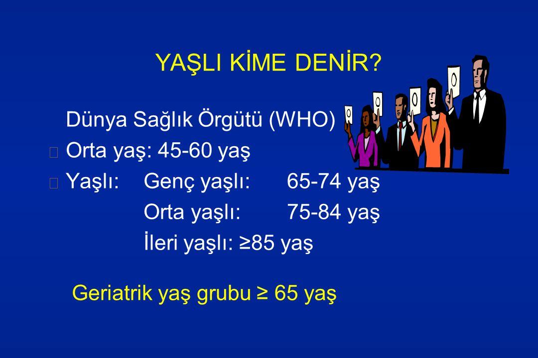 YAŞLI KİME DENİR Dünya Sağlık Örgütü (WHO) Orta yaş: 45-60 yaş