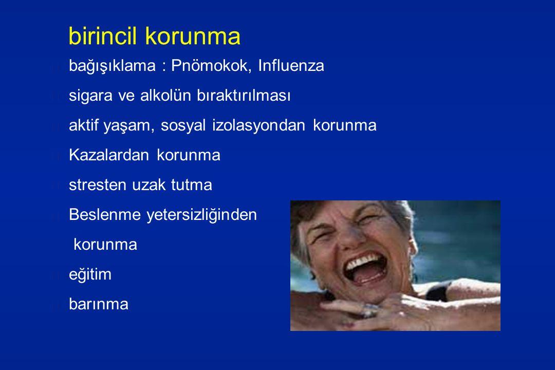 birincil korunma bağışıklama : Pnömokok, Influenza