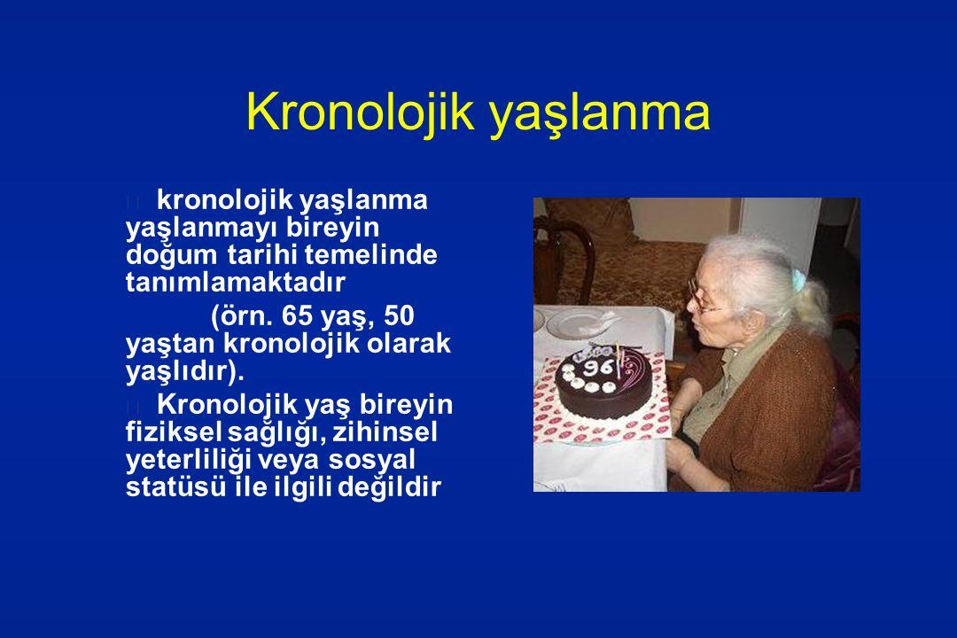 Kronolojik yaşlanma kronolojik yaşlanma yaşlanmayı bireyin doğum tarihi temelinde tanımlamaktadır.