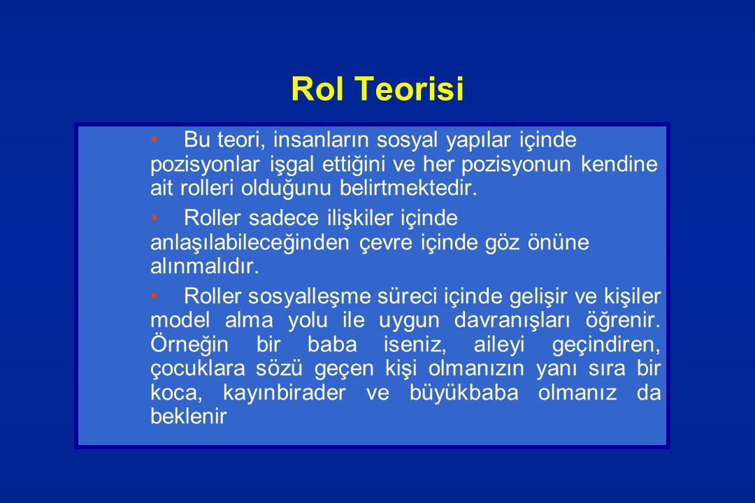 Rol Teorisi Bu teori, insanların sosyal yapılar içinde pozisyonlar işgal ettiğini ve her pozisyonun kendine ait rolleri olduğunu belirtmektedir.