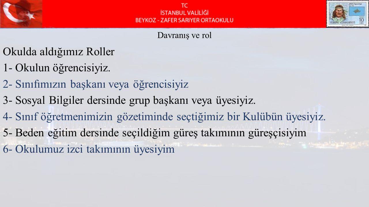 Okulda aldığımız Roller 1- Okulun öğrencisiyiz.
