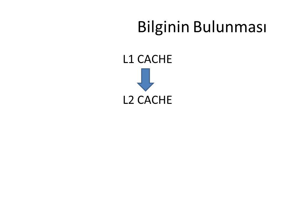 Bilginin Bulunması L1 CACHE L2 CACHE