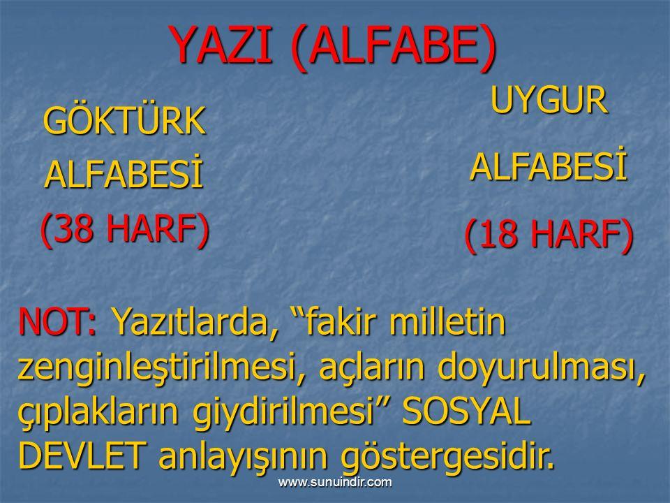 YAZI (ALFABE) UYGUR GÖKTÜRK ALFABESİ ALFABESİ (18 HARF) (38 HARF)