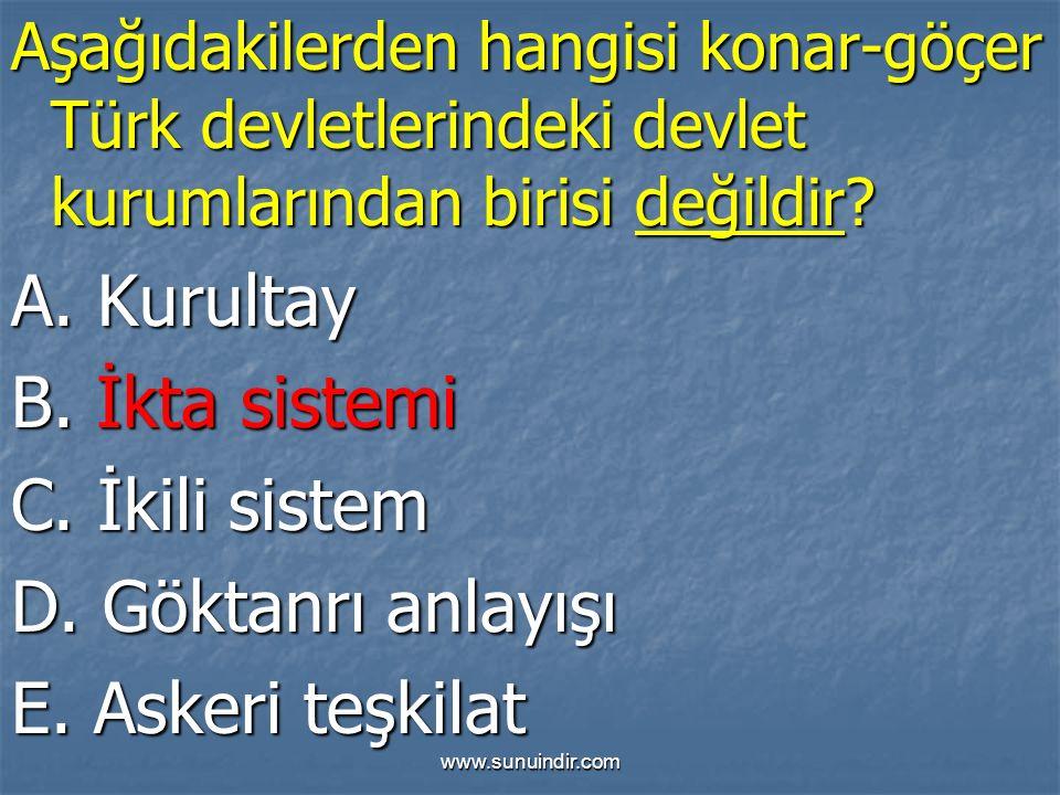 A. Kurultay B. İkta sistemi C. İkili sistem D. Göktanrı anlayışı