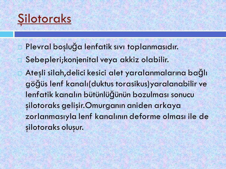 Şilotoraks Plevral boşluğa lenfatik sıvı toplanmasıdır.