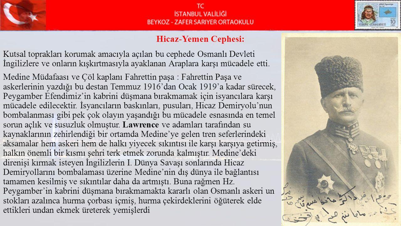 . . Hicaz-Yemen Cephesi: