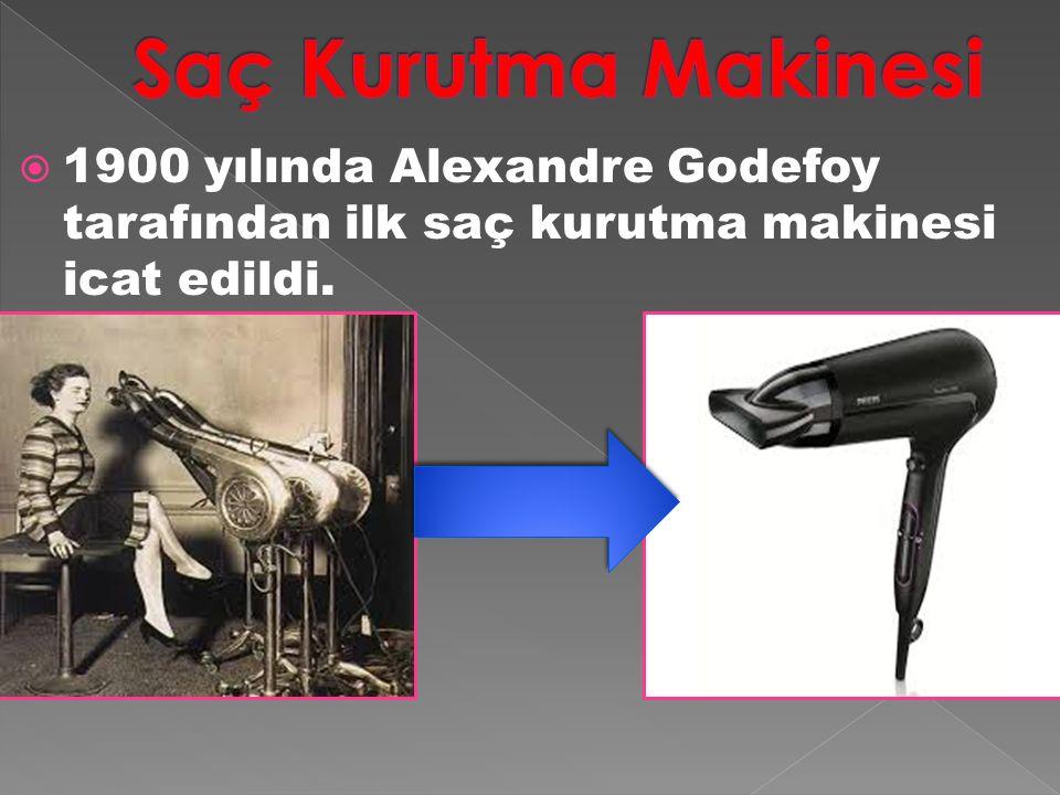 Saç Kurutma Makinesi 1900 yılında Alexandre Godefoy tarafından ilk saç kurutma makinesi icat edildi.