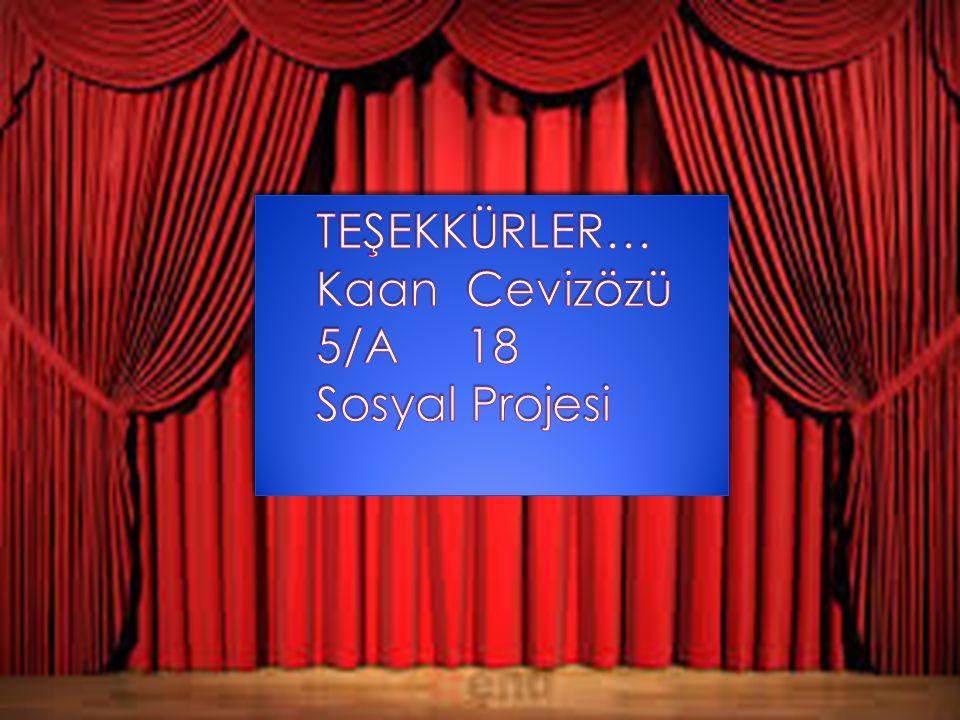 TEŞEKKÜRLER… Kaan Cevizözü 5/A 18 Sosyal Projesi