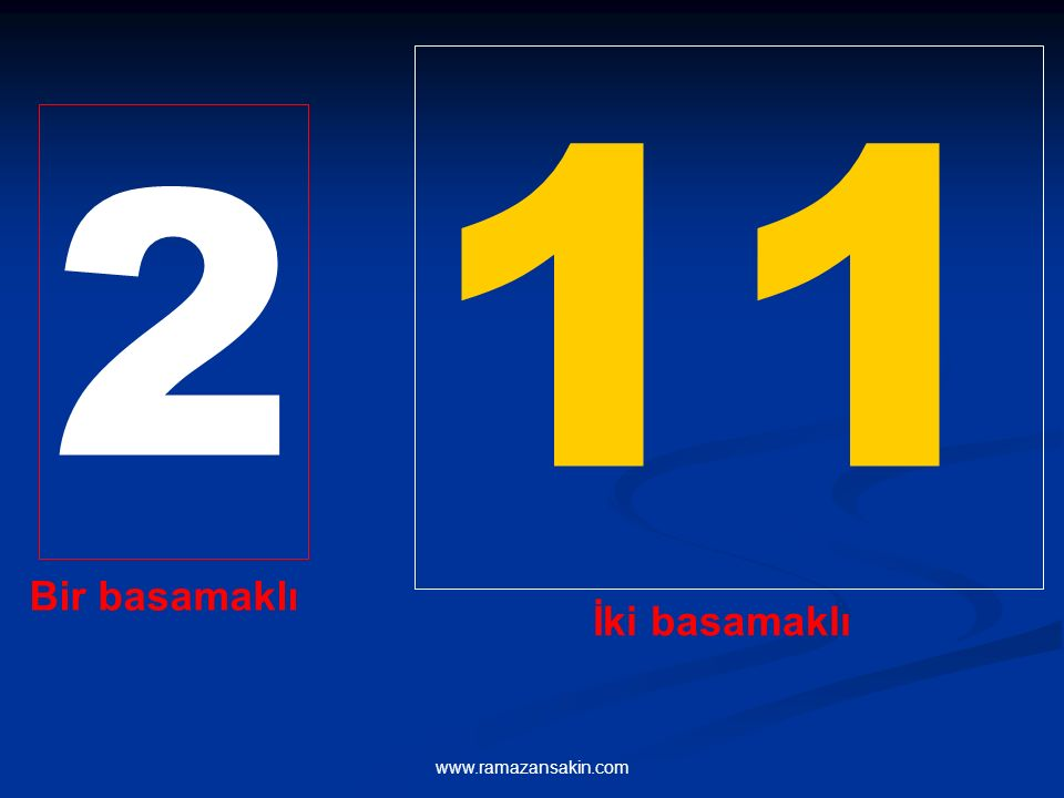 11 2 Bir basamaklı İki basamaklı www.ramazansakin.com