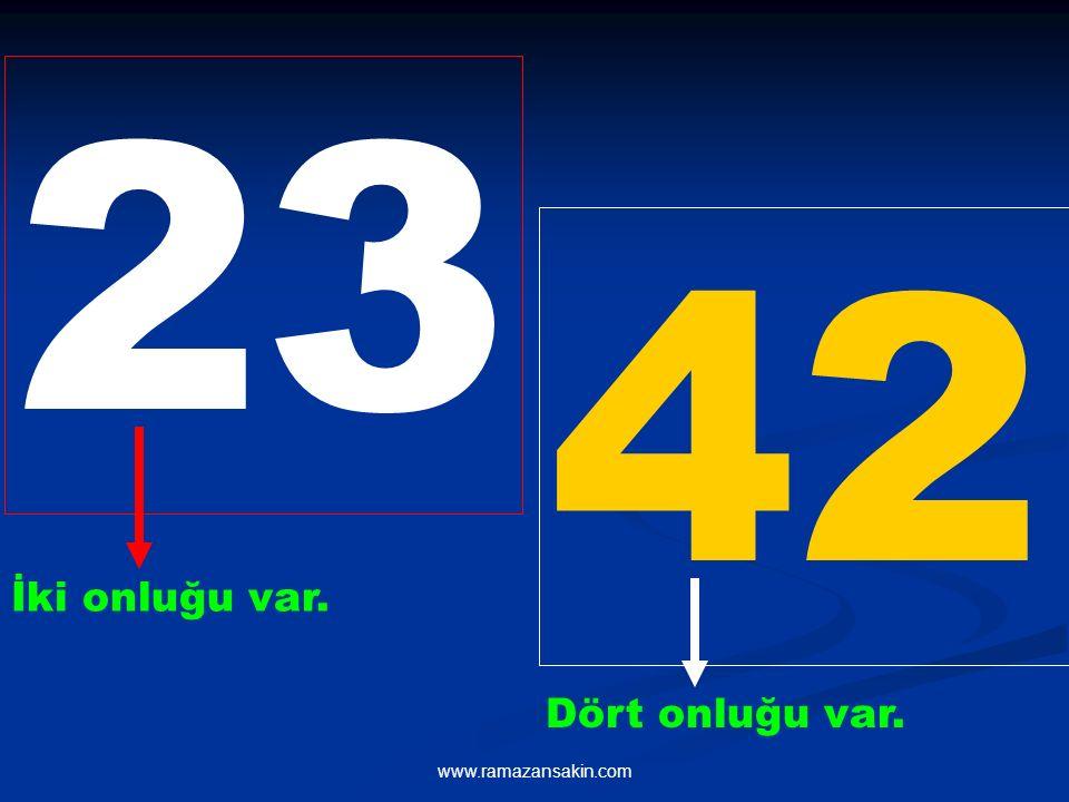 23 42 İki onluğu var. Dört onluğu var. www.ramazansakin.com