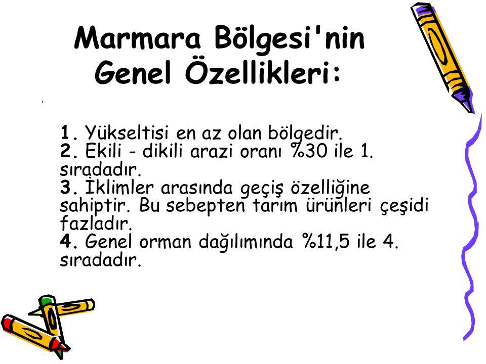 Marmara Bölgesi nin Genel Özellikleri: