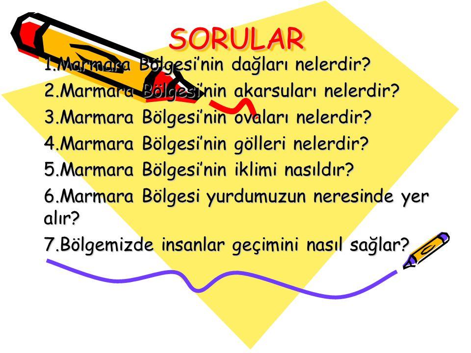 SORULAR 1.Marmara Bölgesi'nin dağları nelerdir