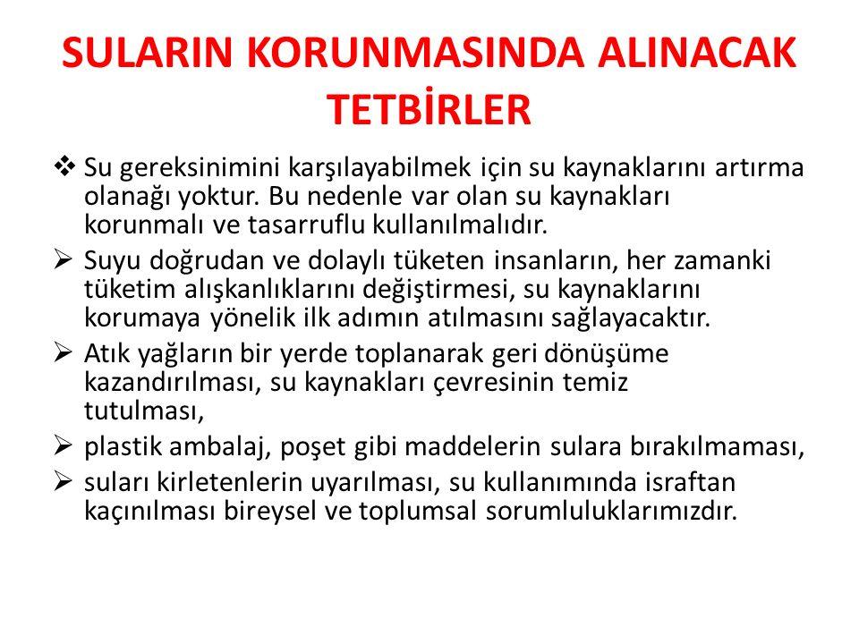 SULARIN KORUNMASINDA ALINACAK TETBİRLER