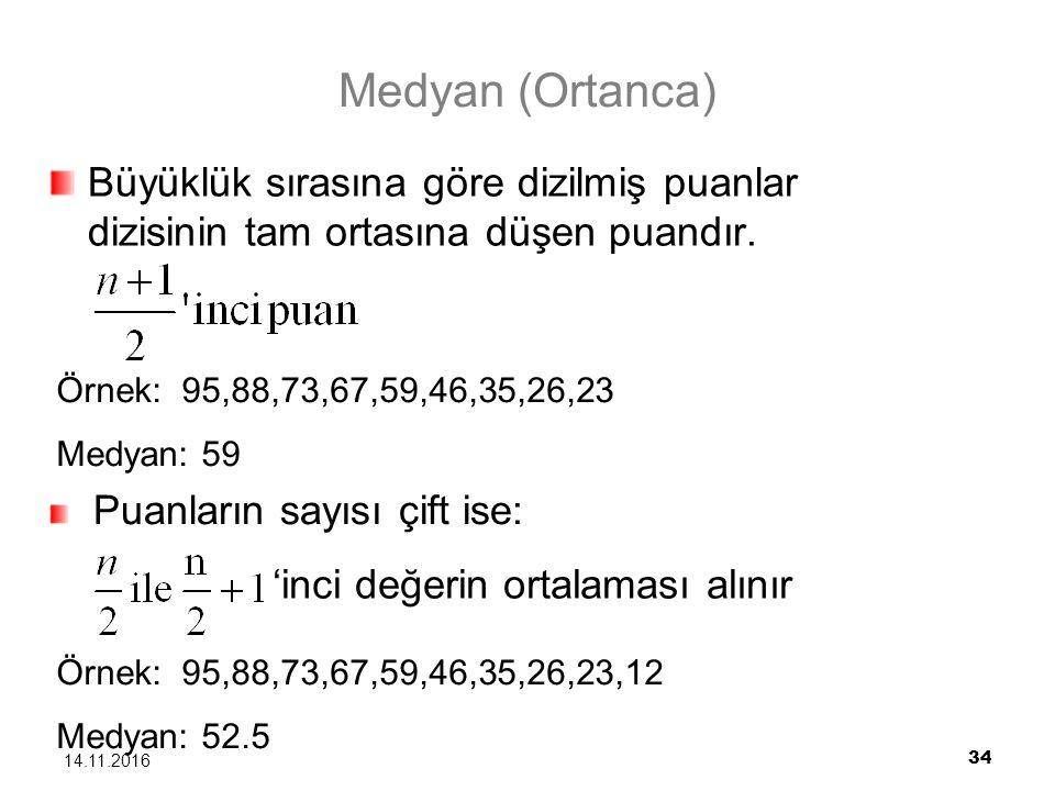 Medyan (Ortanca) Büyüklük sırasına göre dizilmiş puanlar dizisinin tam ortasına düşen puandır. Örnek: 95,88,73,67,59,46,35,26,23.