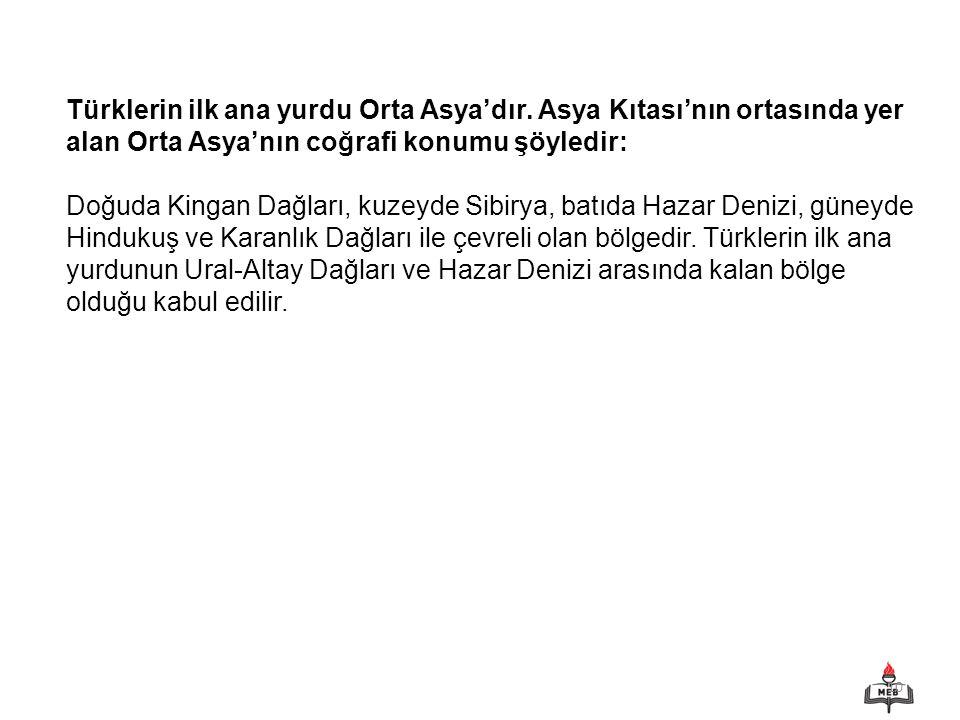 Türklerin ilk ana yurdu Orta Asya'dır
