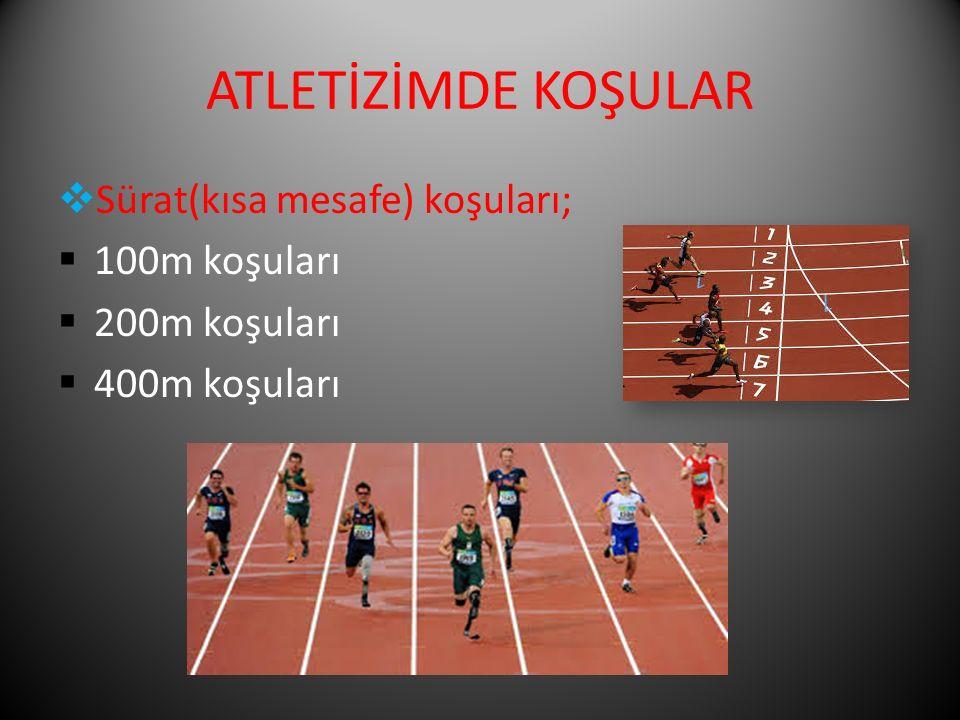 ATLETİZİMDE KOŞULAR Sürat(kısa mesafe) koşuları; 100m koşuları
