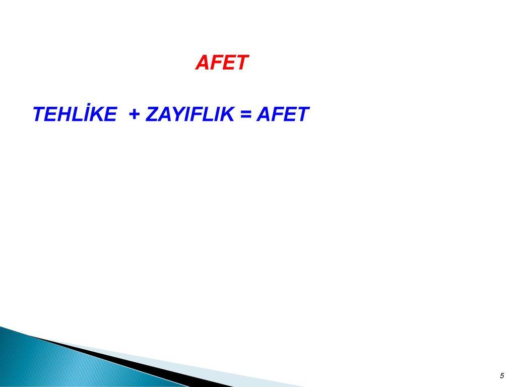 TEHLİKE + ZAYIFLIK = AFET