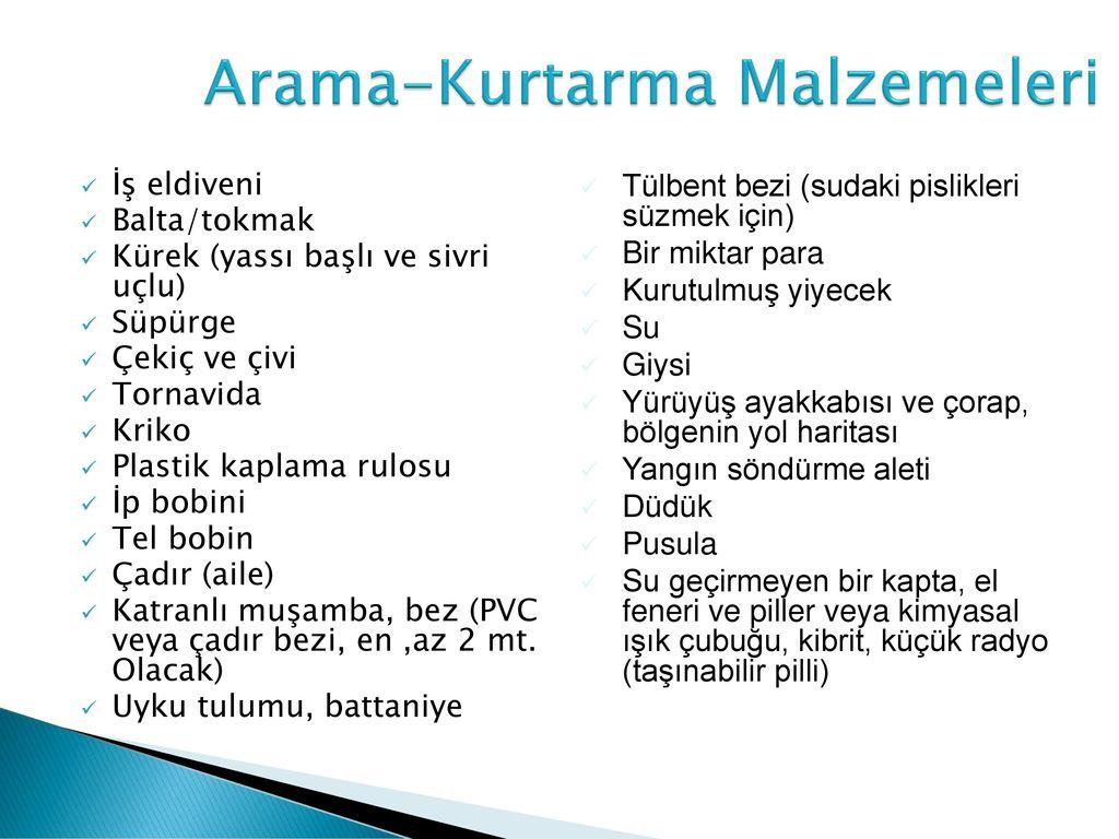 Arama-Kurtarma Malzemeleri