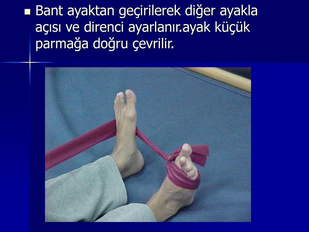 Bant ayaktan geçirilerek diğer ayakla açısı ve direnci ayarlanır