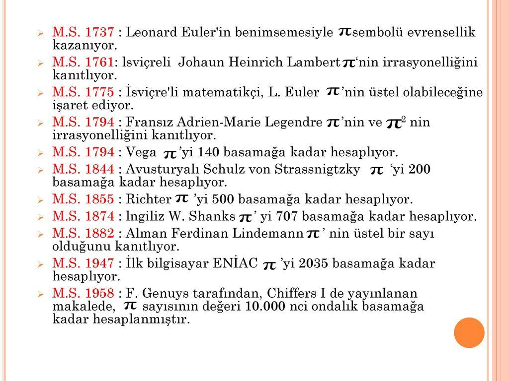 M.S. 1737 : Leonard Euler in benimsemesiyle sembolü evrensellik kazanıyor.