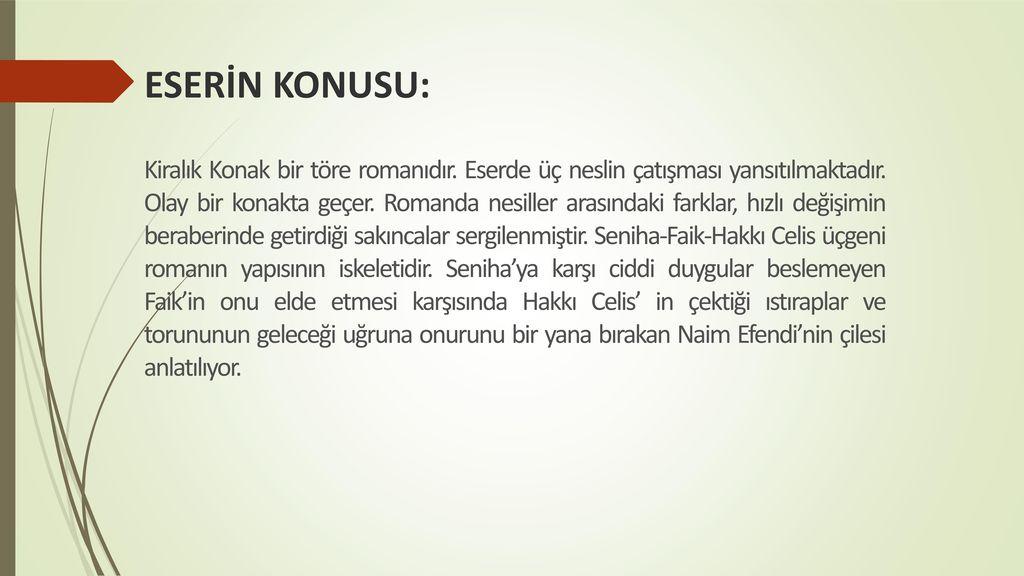ESERİN KONUSU: