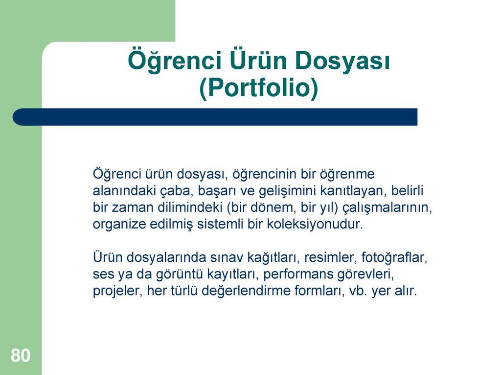 Öğrenci Ürün Dosyası (Portfolio)