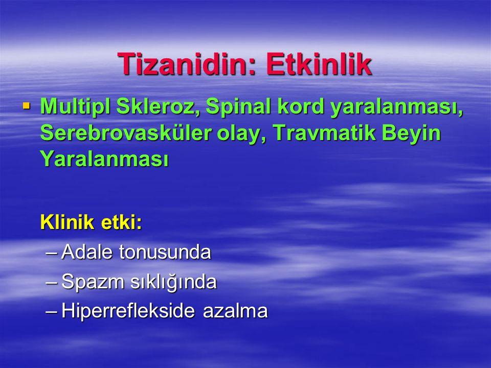 Tizanidin: Etkinlik Multipl Skleroz, Spinal kord yaralanması, Serebrovasküler olay, Travmatik Beyin Yaralanması.