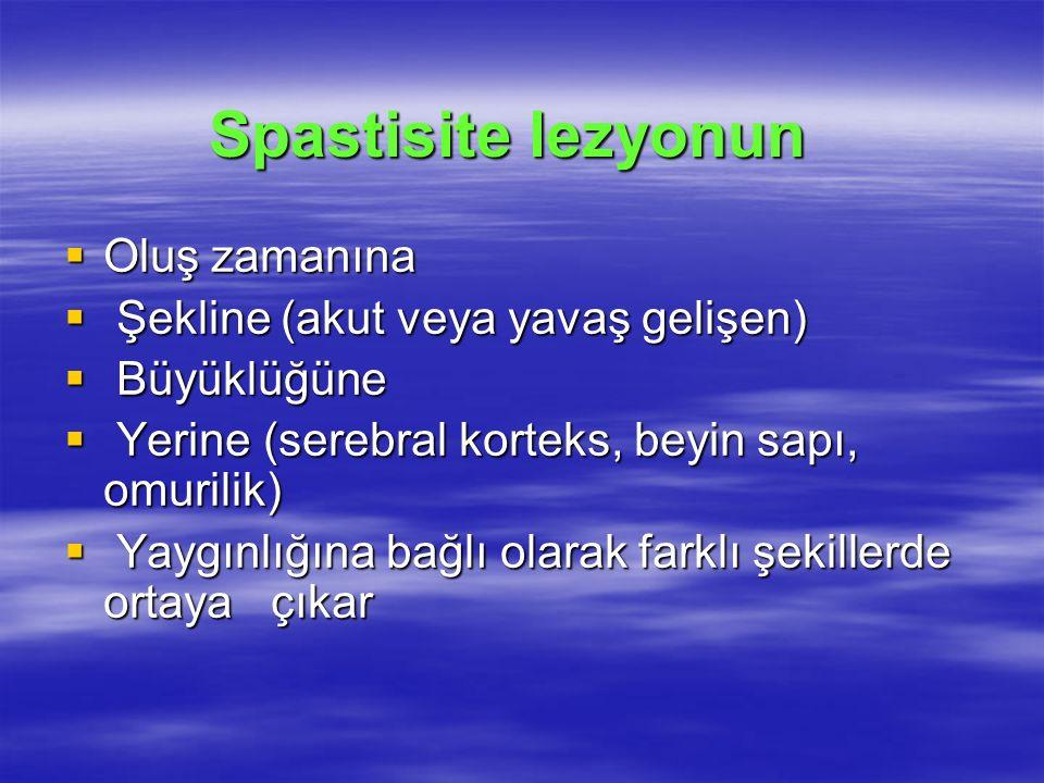 Spastisite lezyonun Oluş zamanına Şekline (akut veya yavaş gelişen)