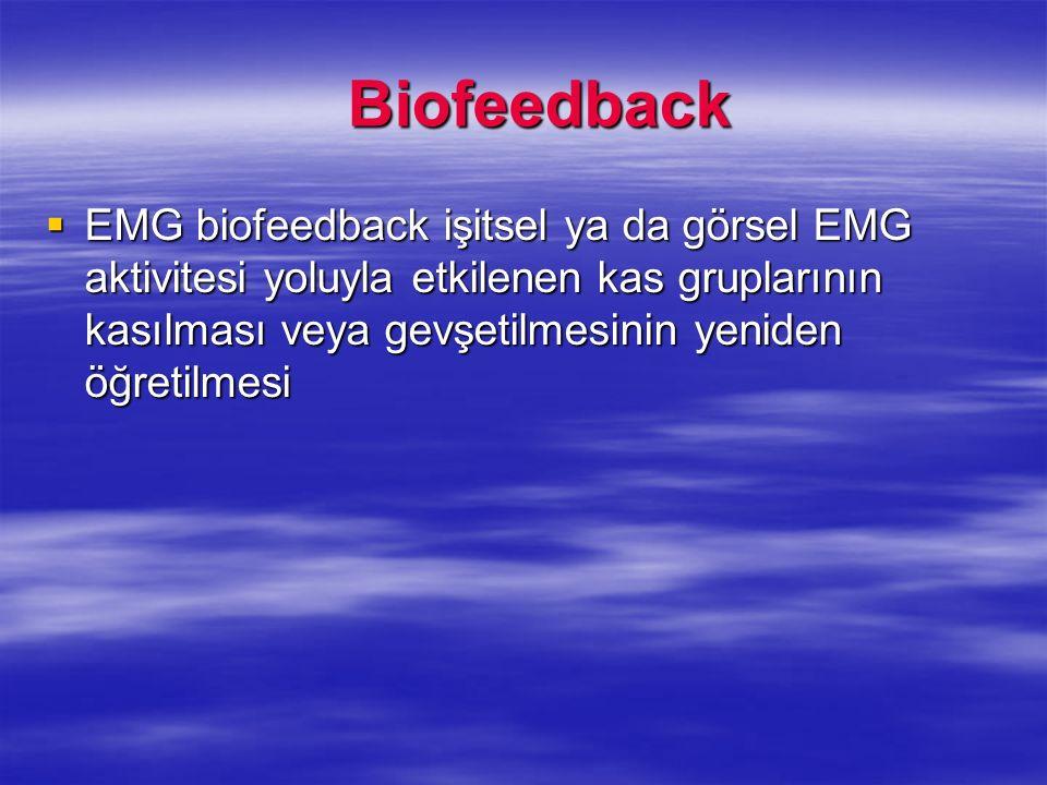 Biofeedback EMG biofeedback işitsel ya da görsel EMG aktivitesi yoluyla etkilenen kas gruplarının kasılması veya gevşetilmesinin yeniden öğretilmesi.
